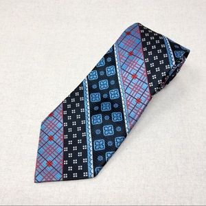 Vintage Mod Baby Blue and Red Patterned Tie